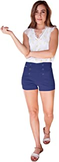 Bebop Womens High Waisted Sailor Shorts and 4 Pocket Removable Belt Shorts