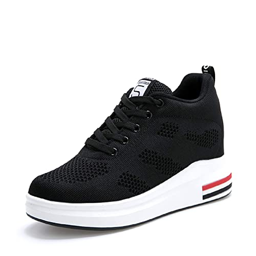 1416f5abf00e LILY999 Womens Ladies Hidden Wedges Heel 8 cm Lace Up Trainers High Top  Sneakers