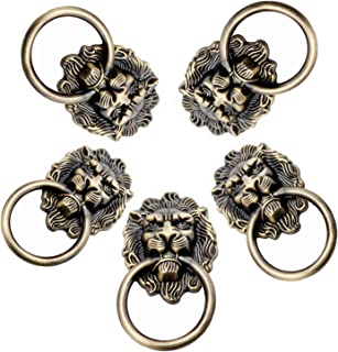 Dosela 5 Pieces Antique Bronze Style Furniture Handle, Classical Zinc Alloy Bronze Lion Head Pull Rings For Furniture Door...