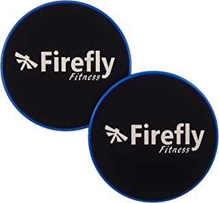 Firefly Fitness Core Sliders/Glide Discs. Set of 2. Dual Sided for Carpet and Hardwood Floors. Low Impact Full Body Workout Equipment.