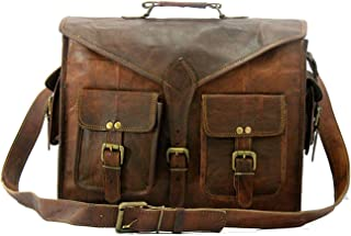 Genuine Messenger Bag Leather Laptop Bags Computer Satchel Briefcase (18 Inch)