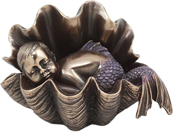 Ebros Atlantis Prince Baby Merboy Sleeping In Giant Oyster Shell Statue 4 25 L Art Nouveau Nautical Mermaid Decorative Figurine