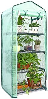 Ohuhu Mini Greenhouse for Indoor Outdoor, Small Plant Greenhouses 4 Tier Rack Stands, Portable Heavy Duty Garden Green Hou...