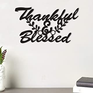 Art Street Thankful & Blessed MDF Plaque Painted Cutout Ready to Hang Home Décor, Wall Décor, Wall Art,Decorative MDF Plaq...
