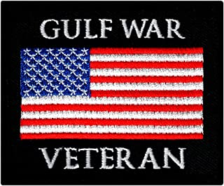 Gulf War Veteran Embroidered Patch US Military Iraq Vet Iron-On Emblem Flag