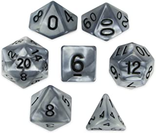 d6 Quicksilver Pearlescent Silver Black 6 Sided Polyhedral Dice Lot RPG D/&D 5