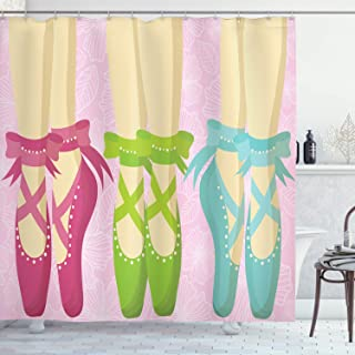 Ambesonne Ballet Shower Curtain, Pointe Shoes Ballerina Woman Feet Classic Slippers View on Floral Leaves Background, Cloth Fabric Bathroom Decor Set with Hooks, 75 Inches Long, Multicolor