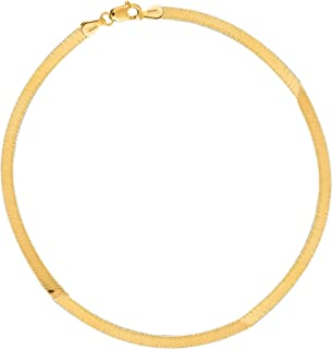 14k Yellow Gold Shiny Herringbone Chain Necklace or Bracelet 3 Mm