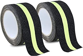 MELIFE Anti Slip Traction Tape, None Skid Glow in The Dark Walk Strip Safety Tape with 3M Best Grip Abrasive Adhesive for Stairs, Tread Step, Gaffers.(2 Pack, 16.4 Feet Long 2 inch Wide Each Roll)
