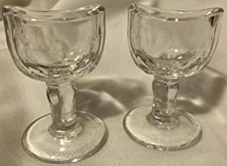 Eyecup John Bull Style Glass Eye Wash Bath Cup Crystal American Made 2 Pieces