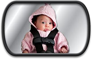 Lina M. Ruecksitzspiegel für Babys im Auto mit 2 Befestigungsvarianten, an der Kopfstütze, oder an der Heckscheibe. 160 x 100 mm, mit Splitterschutzfolie, für Babyschalen und Reboarder.