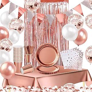 iZoeL 16 invités Vaisselle Jetable Or Rose Nappe Rideau Bruant Ballon Assiettes Serviettes Papier Tasses Papier Paille Déc...