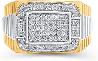 Jewelili Yellow Gold over Sterling Silver 1/2 Cttw Natural White Round Diamond Mens Ring