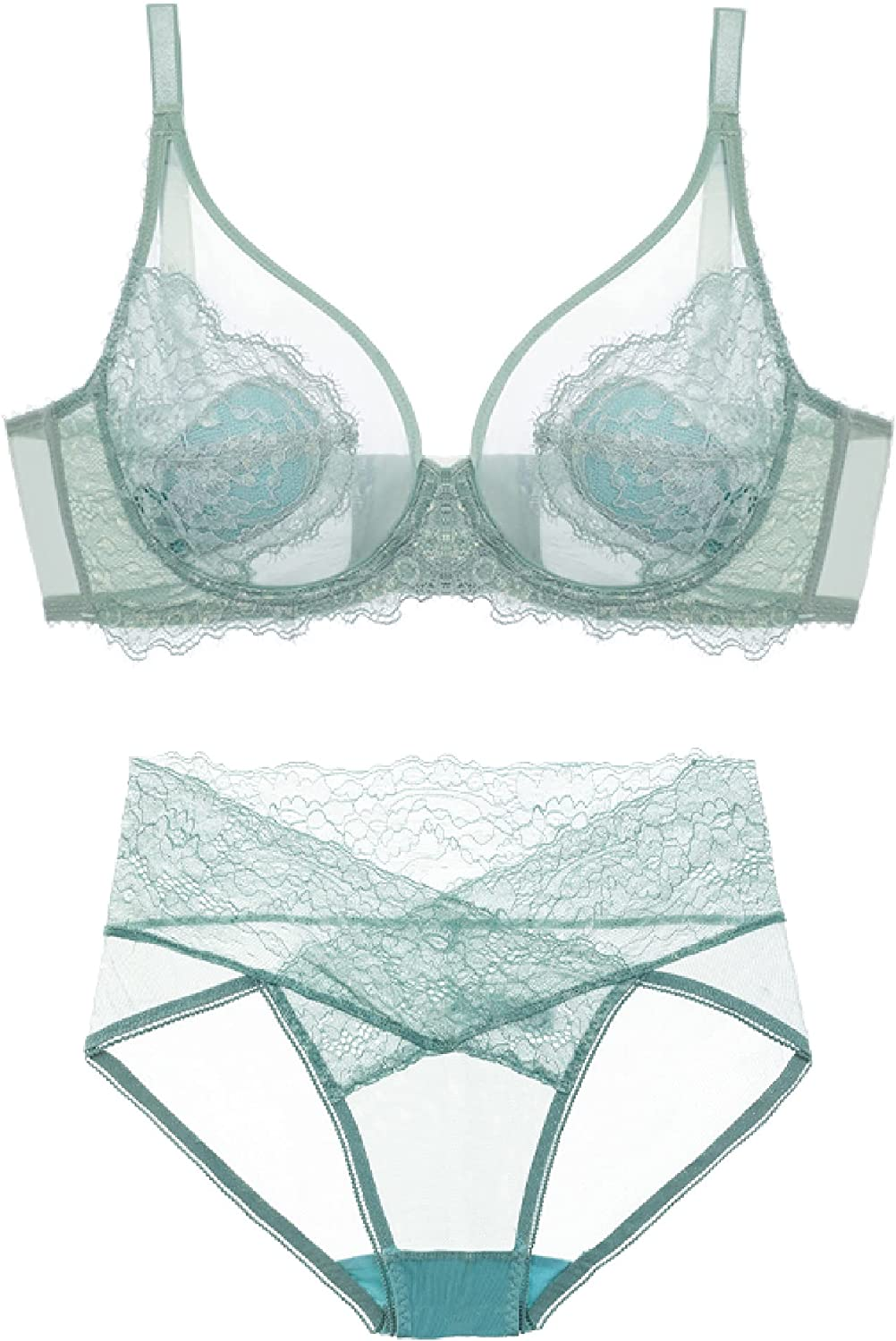 Women's Brand Cheap Sale Venue Underwired Great interest See Through Bra Mesh Set Panties and Unlined