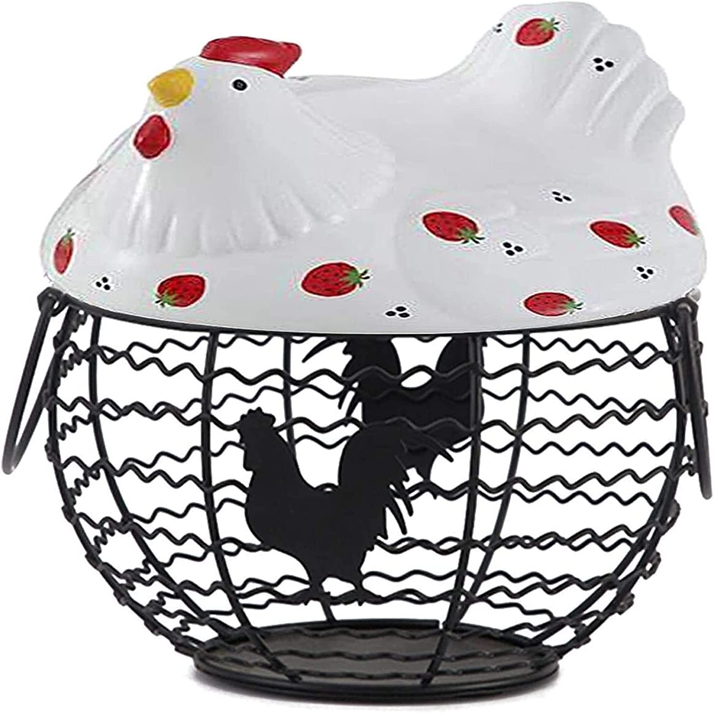 Ghlevo Max 75% OFF Country Style Wrought Iron Storage Ba Gorgeous Egg Basket,Egg
