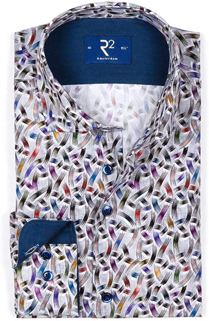 R2 Amsterdam - Camisa casual - Cuello italiano - Manga larga ...