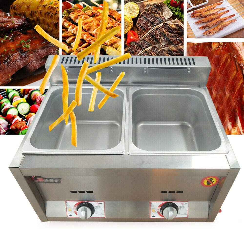 Selling and selling Commercial Stainless Steel Deep Fryer Gas Warm Pan ! Super beauty product restock quality top! 2 Food