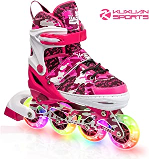 Kuxuan Boys and Girls Camo Adjustable Inline Skates with Light up Wheels, Fun Illuminating Roller Blading for Kids Girls Youth