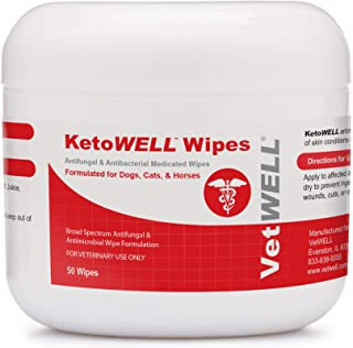 KetoWELL Chlorhexidine Wipes with Ketoconazole for Dogs & Cats Antifungal & Antiseptic Medicated Pet Wipes for Hot Spots, Ringworm, Yeast, Fungal Infections, Acne & Pyoderma - 50 Count