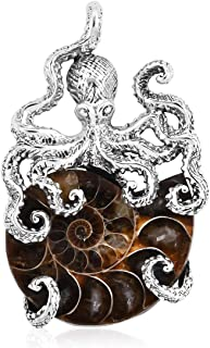 Ammonite Pendant 925 Sterling Silver Jewelry for Women