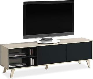 Habitdesign 0Z6635R - Mueble de TV Acabado Color Roble y Gris Oscuro Medidas 180 cm (Largo) x 54 cm (Alto) x 41 cm (Fondo)