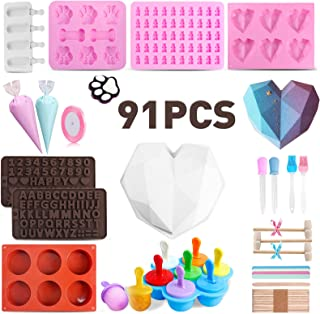 91Pcs Silicone Molds Set with Big Heart Shaped Mold,Number and Letter Mold,Popsicle Mold,Dog Paw Molds,Round Cylinder Choc...