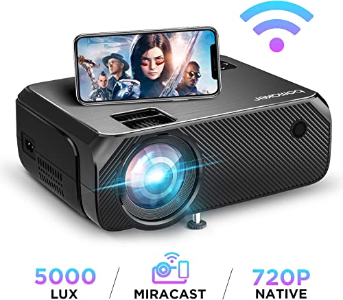 BOMAKER HD TV Projector, 3,600 Lux LED HDMI Projector with Carrying Bag, 1080P and 250'' Display Supported, Compatibl...