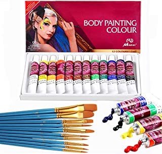 VVLife 12 Colores de la Pintura de la Cara de Tubos, no toxico & hipoalergenico Body Paint Maquillaje de Halloween, pigmentos Ricos, Vienen con Piezas de Nylon Cepillo de Pelo de Punta redond