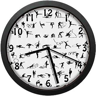 リボンと表彰台のあるオリンピック競技シルエット寝室、居間、事務所などの壁掛け時計、直径24.7cm