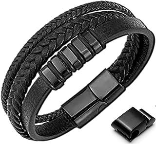 GENAC Bracelet Pour Homme En Cuir Véritable De Haute Qualité Et Acier Inoxydable Avec Fermoir Magnétique Amovible Pour Rég...
