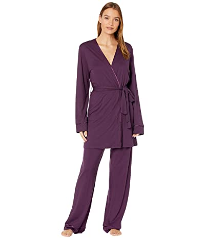 Cosabella Bella Curvy Cami Pants and Robe Set (Deep Purple/Deep Purple) Women