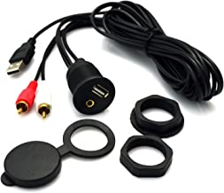 2 Meter 3ft USB and 2RCA to USB & 3.5mm Female Flush MountCable with Dash Mounting Bracketfor Car, Boat and Motorcycle,Trailer Dash or Other Surface (USB & 3.5mm to 2 RCA L=2M)