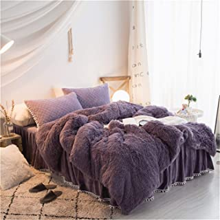 MooWoo 1 PC Soft Shaggy Plush Flannel Duvet Cover, Faux Fur Fluffy Bedding, Zipper Close and Ties, No Inside Filler (Dusty Purple, Full)