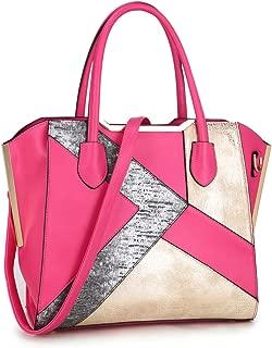 Dasein Women Snake Skin Handbags Vegan Leather Totes Patchwork Satchel Top-handle Bags with Long Shoulder Strap