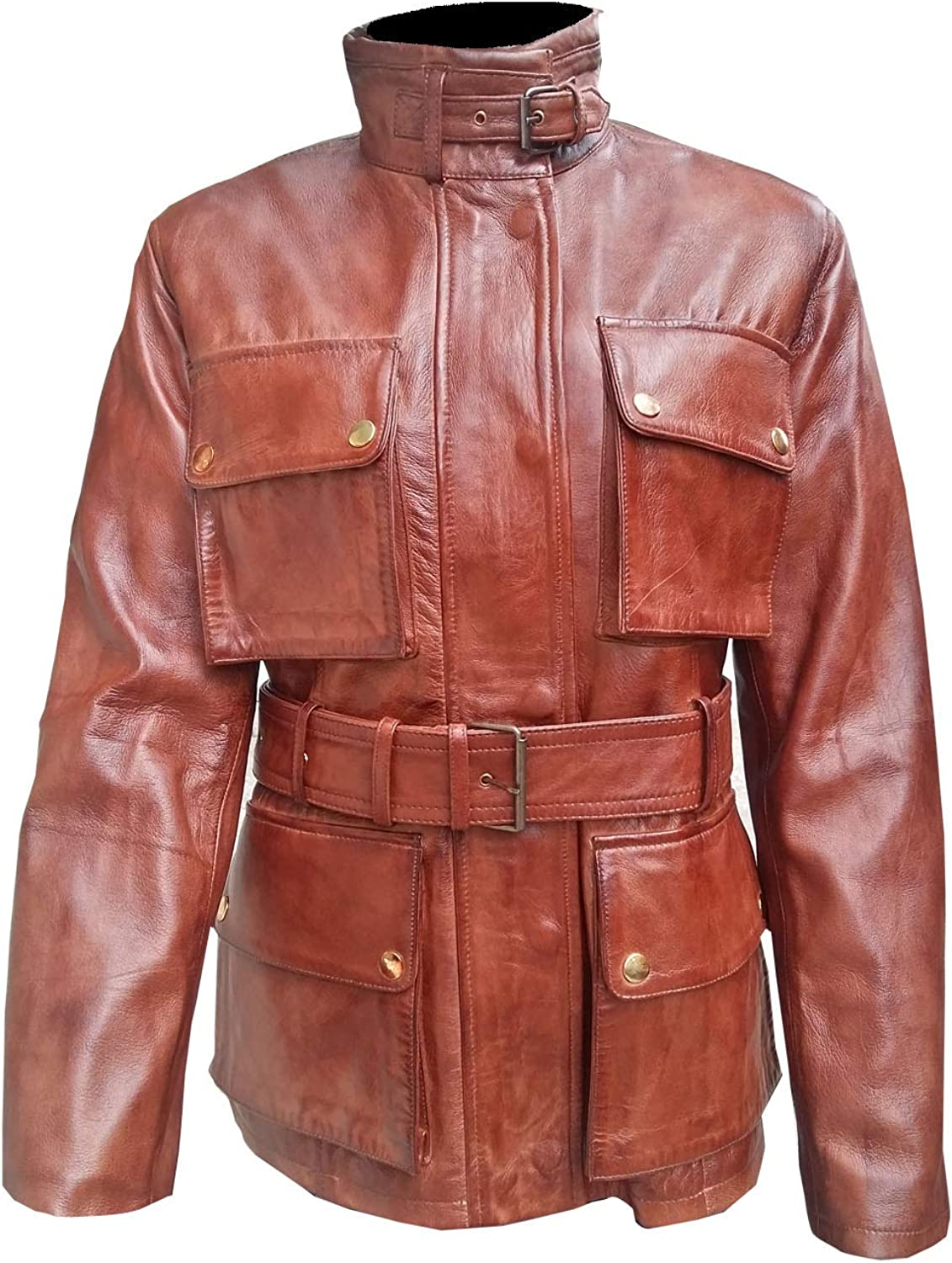 Marche Women's Safari Trucker Vintage Distressed Brown Leather Jacket 2XS to 3XL