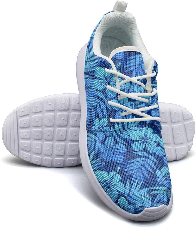 bluee Tropical Flowers Women's Fashion Tennis shoes Casual Mesh Lightweight Basketball Sneakers