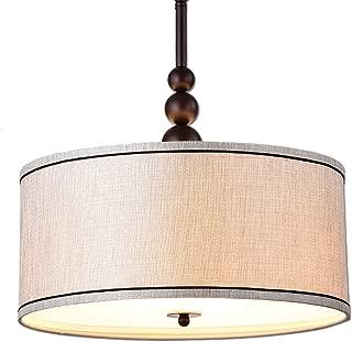 DANXU lighting Vintage Modern Glass 3-Light Kitchen Chandeliers, Oil Rubbed Bronze Drum Shade Gauze Etamine Hanging Pendant Light