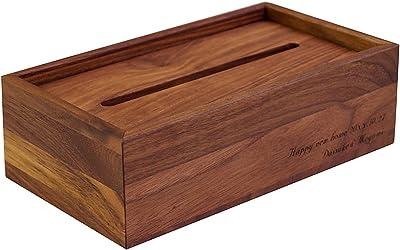 きざむ 名入れ ティッシュボックス 木製 引越し祝い 贈り物 ギフト ウォルナット