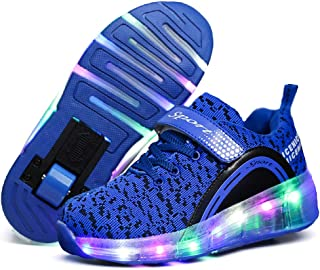 Knnnen LED Light Up Kids Roller Skate Shoes for Girls Boys with Single Wheel Sneaker Shoes