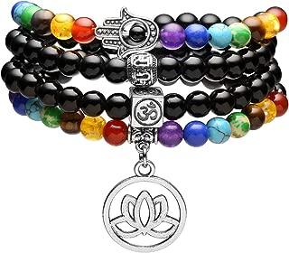 108 Mala Prayer Beads Natural Lava Rock Stone Essential Oil Diffuser Bracelet Necklace 7 Chakra Healing Crystals Yoga Meditation Stretch Bracelets