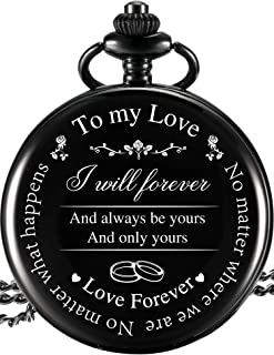 Pangda Pocket Watch to Husband Wife Boyfriend Girlfriend Gift, Engravedto My Love Pocket Watch - No Matter Where We are, No Matter What Happens, Love Forever (Love Gifts, White Dial)