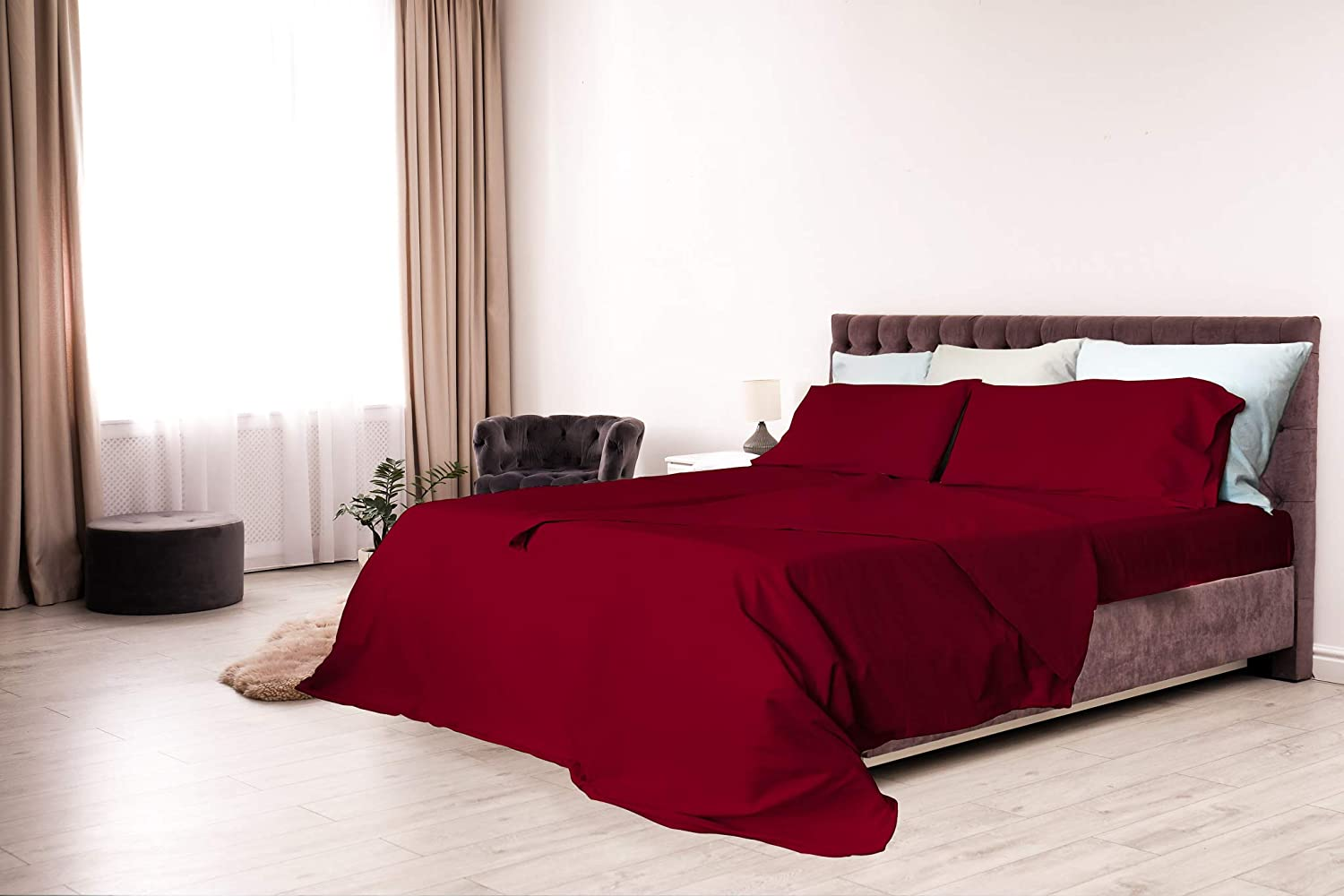 Elegant CL-EL-BORDEAUX-2PST Ensemble de draps de lit, Bordeaux, Double, Microfibre Bordeaux