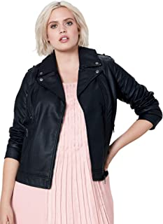 Women's Plus Size Faux Leather Moto Jacket
