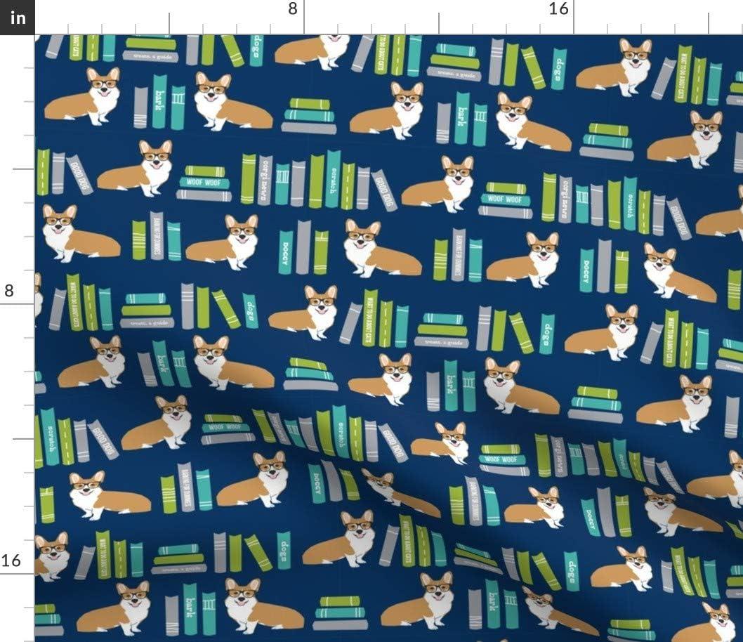 Spoonflower Fabric - Corgi Library Book 正規店 売店 Books Corg Dog Librarian