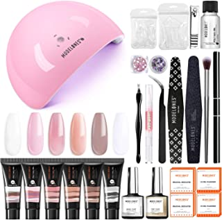 Modelones Poly Extension Gel Nail Kit - 6 Colors with 48W U V/LED Light Nail Lamp Slip Solution Rhinestone Glitter All In ...