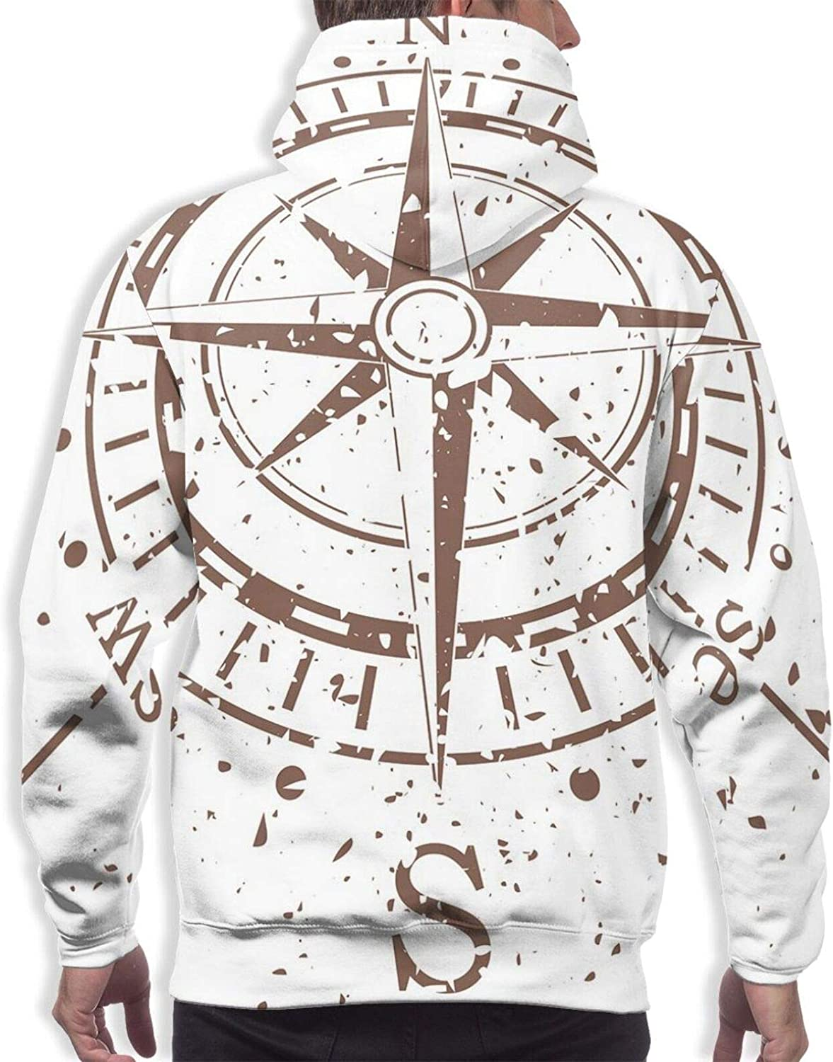 Men's Hoodies Sweatshirts,Retro Tainted and Splashed Paint On A Voyage Windrose Discovery Theme Vintage Art Design