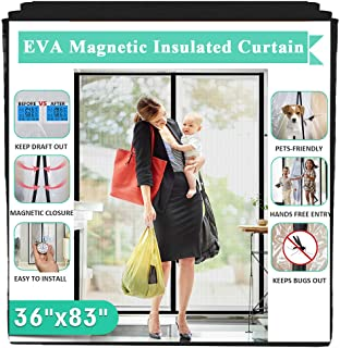 "Insulated Door Curtain, IKSTAR EVA Magnetic Door for Exterior/Interior/Kitchen Doors, Keep Draft Air Out, Pets/Kids Walk Through Free, with Full Frame Loop&Hook, Hands Free Closure Size 36""x83"""