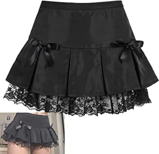 Ruffles Splice Pleated Bow Knot Mini Short Dress, High Waisted A-Line, Womens Gothic Short Skirt Sexy Lace Flare Mini Blac...