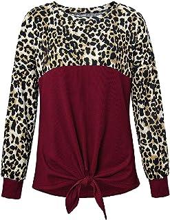 Miracle Women Classic Fit Tie Leopard Print Color Block T Shirt Crewneck Knot Casual Tunic Blouse T-Shirts