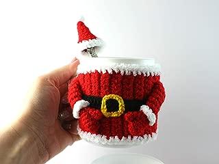 Santa mug cosy, crochet cup cover, Christmas mug, New Year gift, mug sleeve, red mug warmer, mug cozy